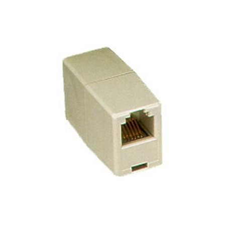 ICC Voice, Pin 1-6 Modular Coupler - 1 Pack - 1 x RJ-11 Female Phone - 1 x RJ-11 Female Phone - Gold-plated Contacts - Ivory