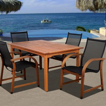 amazonia indiana 5 piece rectangular eucalyptus patio dining set. Black Bedroom Furniture Sets. Home Design Ideas