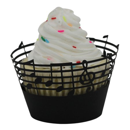 DZT1968 25pc Christmas Lace Laser Cut Cupcake Wrapper Liner Baking Cup Muffin Black