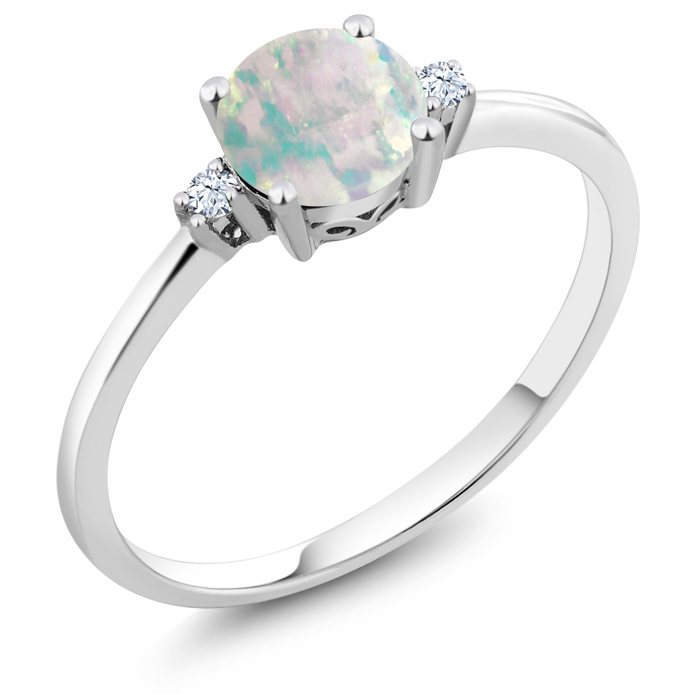 10K White Gold Ring Round Simulated Opal White Created Sapphire (0.33 cttw) by