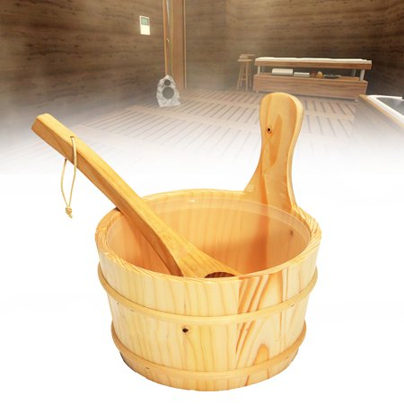 4l Sauna Accessory Wooden Bucket Pail Ladle W/ Linner Combined Set Sauna Room Accessory (Wooden Pail)