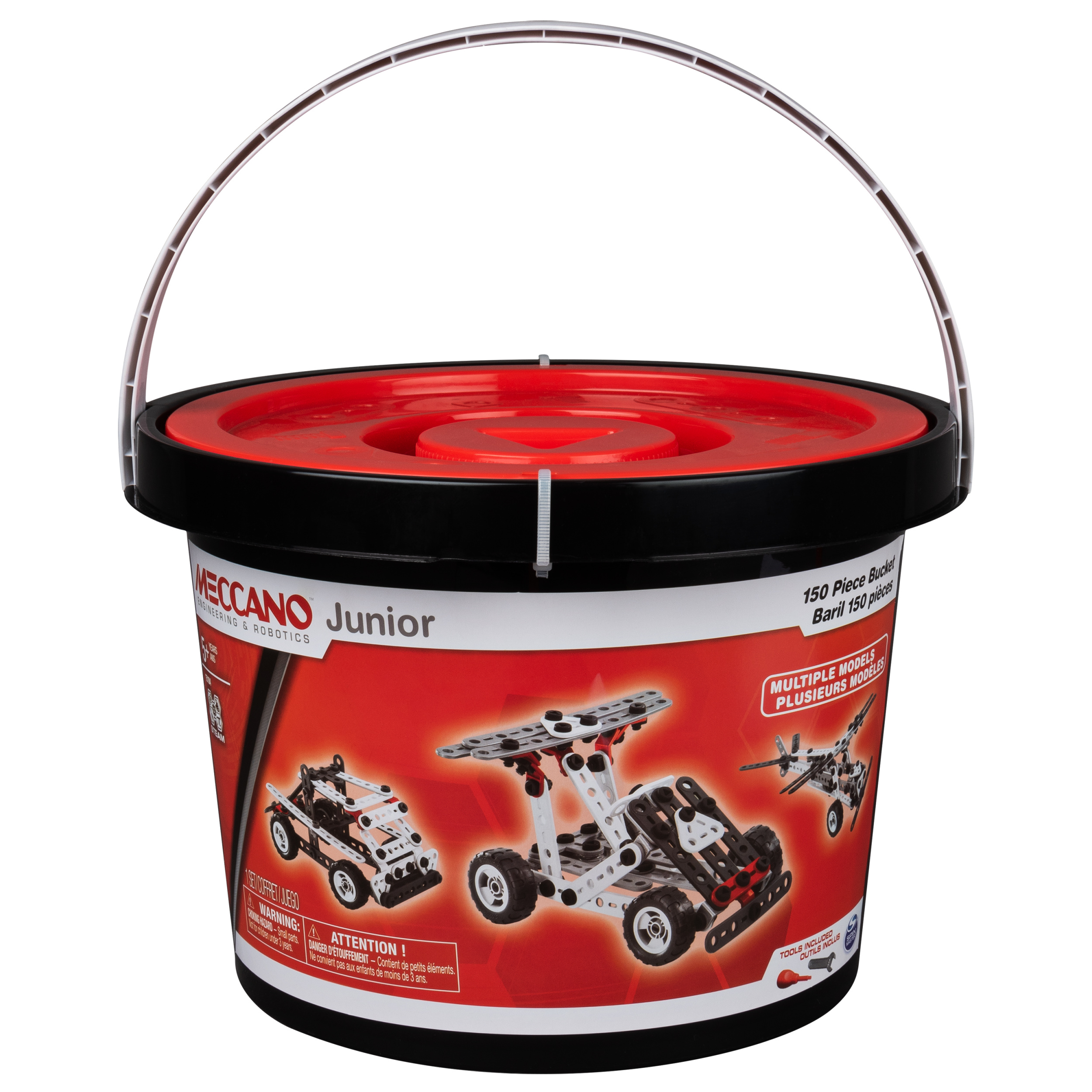 Meccano Junior, 150-Piece Bucket S.T.E.A.M. Building Kit with Real Tools, for Ages 5 and Up