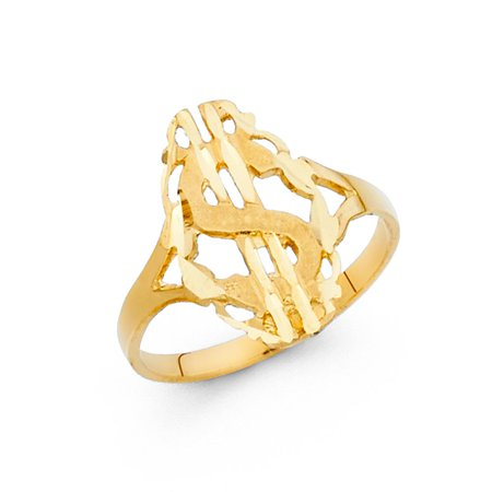 14k Yellow Italian Solid Gold 17mm Band Fancy Dollar Sign Ring Cocktail Gift Idea Size 7.5 Available All Sizes