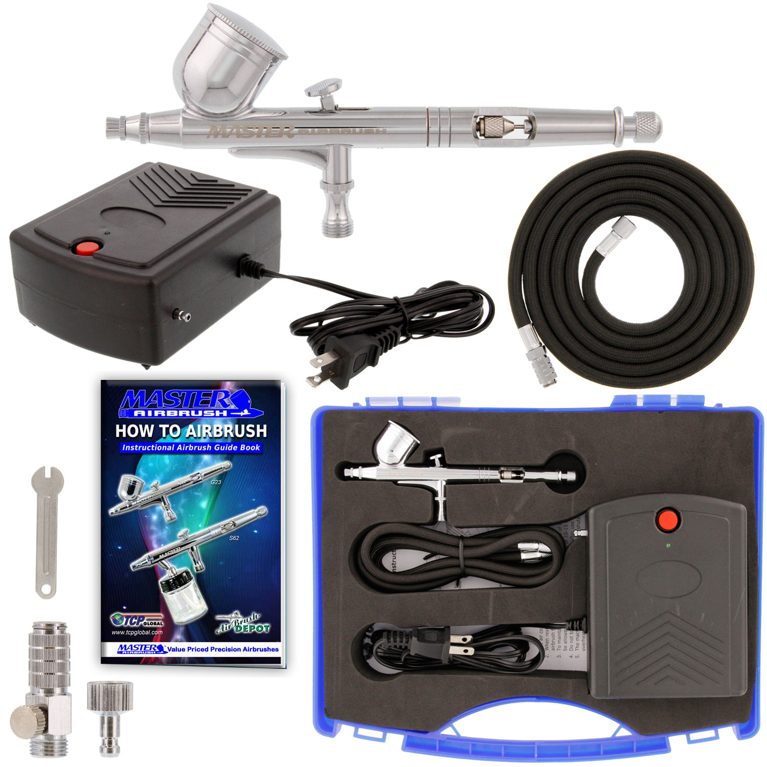 New Precision Dual-Action AIRBRUSH AIR COMPRESSOR KIT SET Craft Cake Hobby Paint