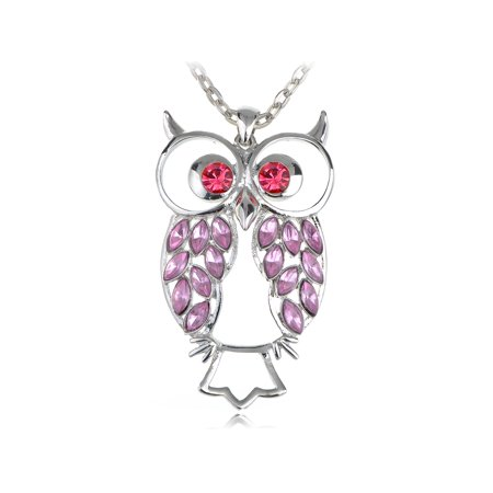 Eyed Owl Pendant - Rose Pink Body Eyes Crystal Rhinestone Silver Tone Owl Big Eye Necklace Pendant