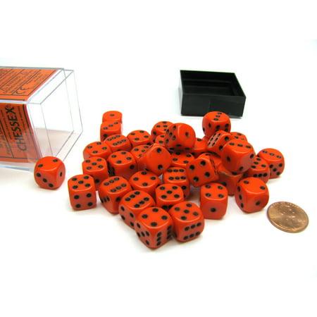 Opaque 12mm D6 Chessex Dice Block (36 Die) - Orange with Black Pips 36 Opaque 12mm Dice Block
