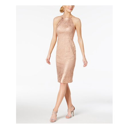 ADRIANNA PAPELL Womens Pink Ombre Metallic Lace Halter Knee Length Sheath Party Dress  Size: 8 Halter Sheath Dress