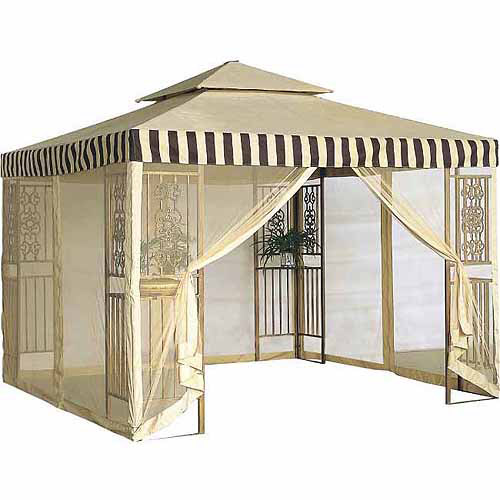 DC America 10' x 10' Steel Frame Gazebo, 2 Tiers, Beige Top and Brown Trims by DC America