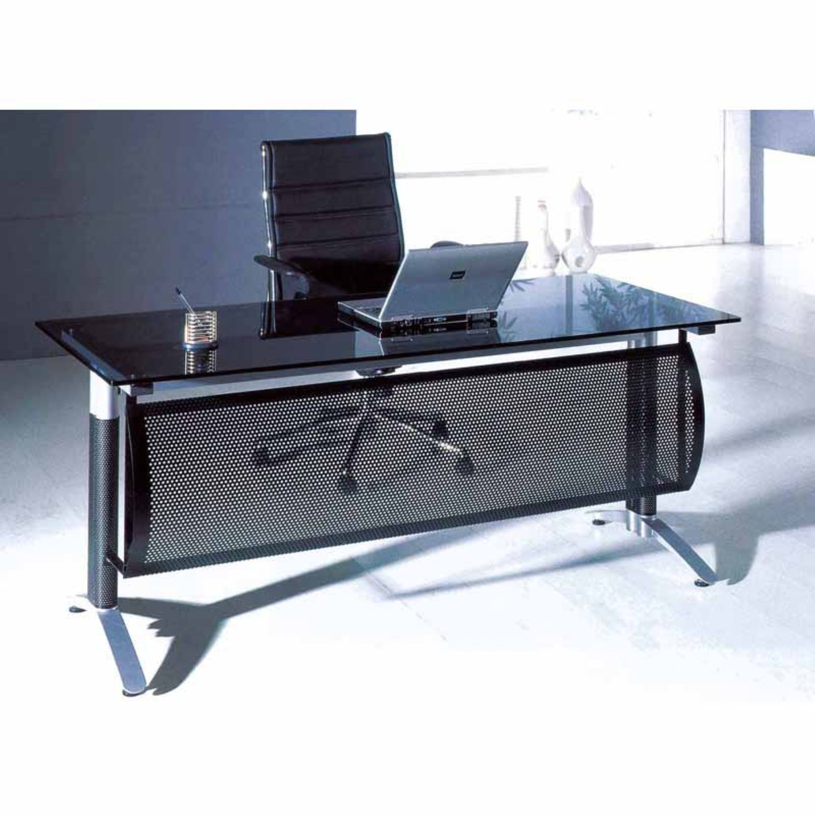 Creative Images International Smoke Glass Top Office Desk - CD12