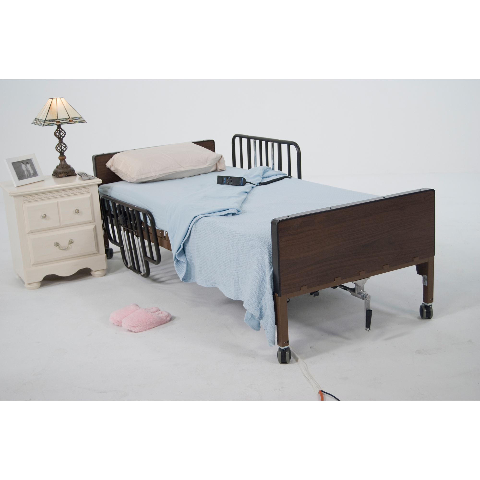 drive medical no gap half length side bed rails with brown vein finish walmartcom
