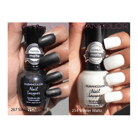 LWS LA Wholesale Store  2 Kleancolor Nail Polish Madly Matte White Winter Waltz Simply Charcoal black