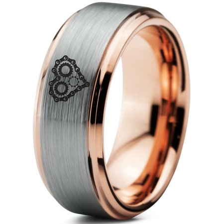 Tungsten Bicycle Chain Gear Heart Band Ring 8mm Men Women Comfort Fit 18k Rose Gold Step Bevel Edge Brushed Polished ()