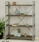 "63.5"" Antique Silver Metal & Walnut Stained Fir Wood Etagere Display Shelves"