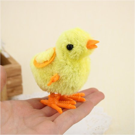 Hopping Chicks Yellow Wind Up Plush Baby Yellow Chicken Party Favors Infant Kids Toys 12pcs - Plush Party