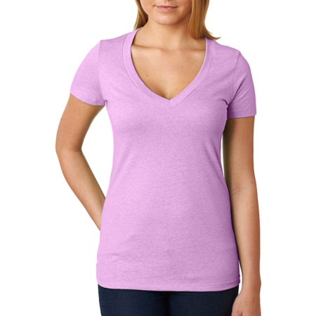 Lilac Ice Apparel - Next Level Womens Rib Knit Shrinkage T-Shirt, Lilac, Medium, Style, NL6640