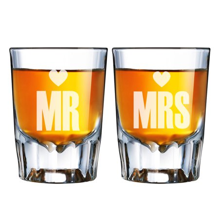 Mr. Heart and Mrs. Heart Engraved Barcraft Fluted Shot Glass
