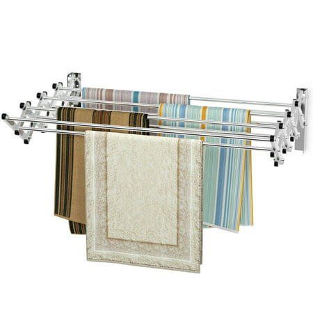 Wall Mounted Expandable Clothes Drying Towel Rack Laundry