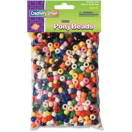 Creativity Street Pony Beads, Solid Colors Bright Hues, 1000/Pkg.