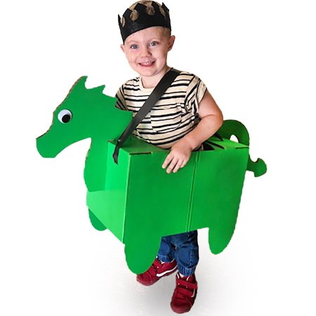 Donny The Dragon Cardboard Costume - Fun Family DIY Art Project for Boys | Kids Pretend Play Toy - Kid Size Ages 3 and up](Cheap Diy Costumes)