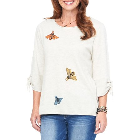 Embroidered Tie Sleeve Sweater