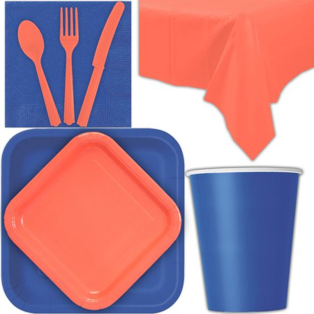 Coral Dessert (Disposable Party Supplies for 28 Guests - Royal Blue and Coral - Square Dinner Plates, Square Dessert Plates, Cups, Lunch Napkins, Cutlery, and Tablecloths:  Tableware Set)