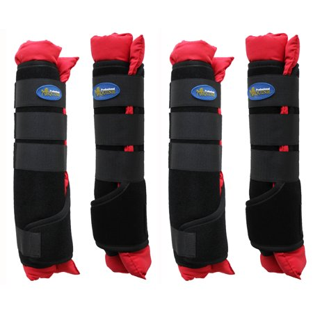 Easy Care Hoof Boots (Horse Stable Shipping Boots Wraps Front Rear 4 Pack Leg Hoof Care Premium 4120RD)