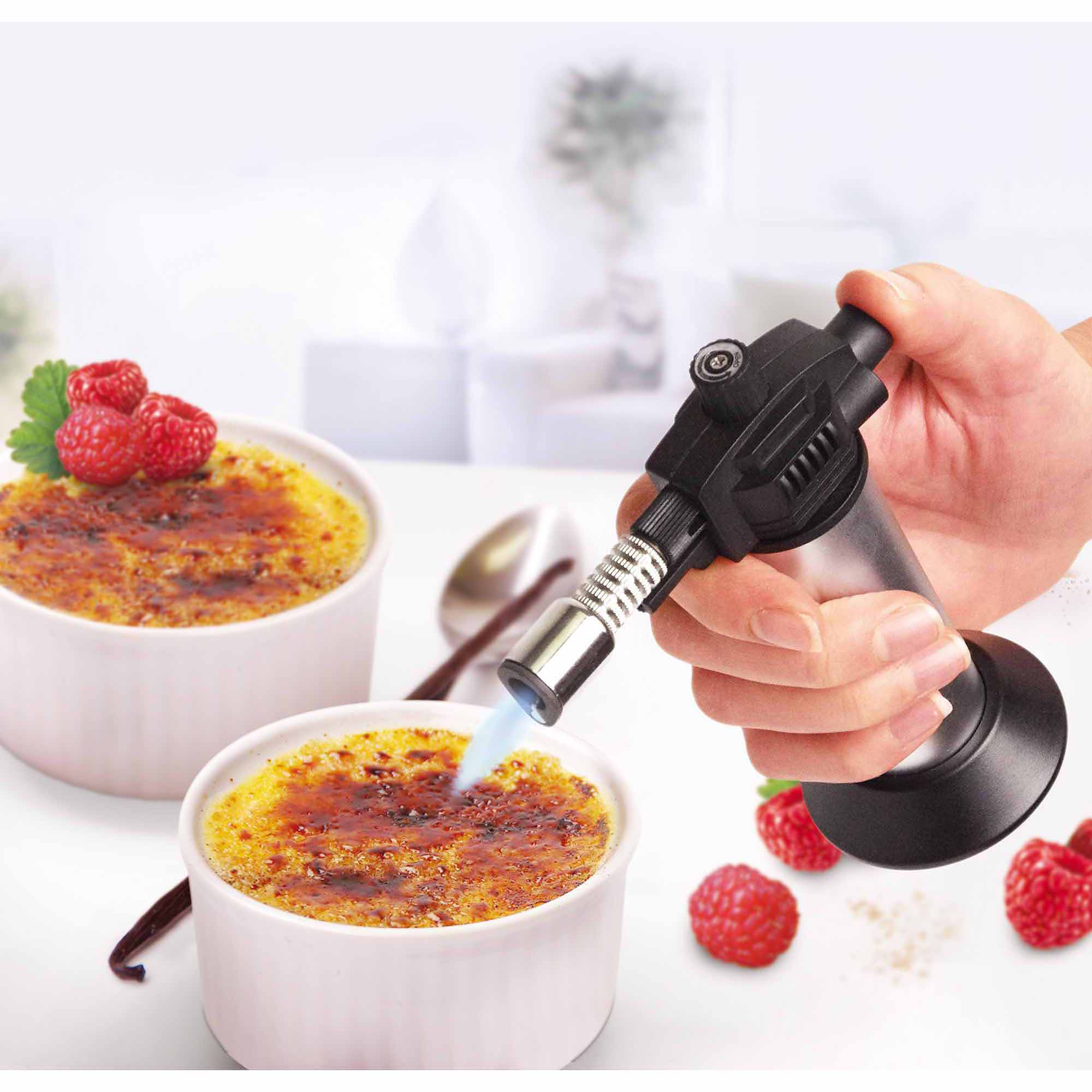 Leifheit Creme-Brulee Ramekins and Cooking Torch Set, White