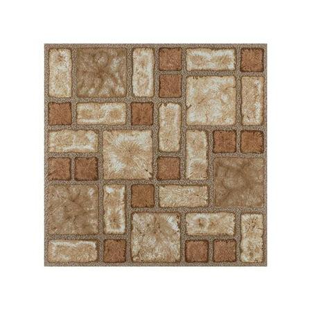 2 mm 12 x 12 in. Portfolio Self Adhesive Vinyl Floor Tile - Cobble Mosaic, 9 Tiles per 9 sq ft.