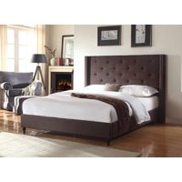 "HomeLife® 48"" Brown Linen Headboard & Platform Bed"