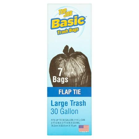 (4 Pack) Basic Top Job Flap Tie Large Trash Bags, 30 gallon, 7