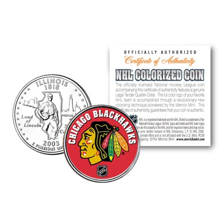 CHICAGO BLACKHAWKS NHL Hockey Illinois Statehood Quarter Colorized Coin LICENSED