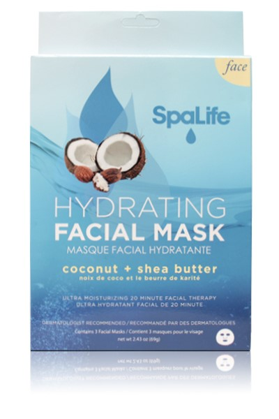 My Spa Life Hydrating Facial Mask, Coconut & Shea Butter , 3 Ct Aroma White C+ Recovery Brightening Night Cream 1.69oz