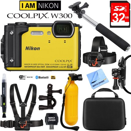 17 Mm Camera Head (Nikon COOLPIX W300 16MP 4k Ultra HD Waterproof Digital Camera Yellow (26525) with 32GB Memory Card, Cleaning Kit, BLTCHM1 Clip Head Mount Kit, Yellow Floating Bobber Handle & More)