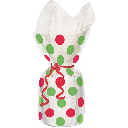Polka Dot Christmas Cellophane Bags, 11 x 5 in, Red and Green, 20ct