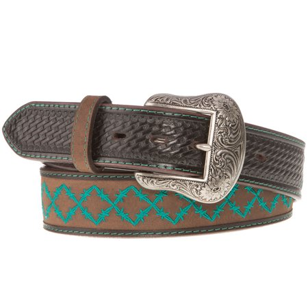 western fashion accessories mens  brown belt with turquoise design western fashion accessories mens belt with turquoise design 38 brown
