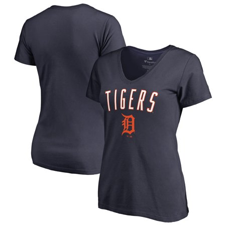 Detroit Tigers Fanatics Branded Women's Plus Size Arch Logo V-Neck T-Shirt - Navy