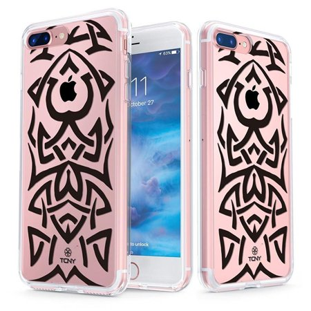 iPhone 7 Plus Tribal Tattoo Case - True Color Clear-Shield Samoan Tribal Tattoo Printed on Clear Back - Soft and Hard Thin Shock Absorbing Dustproof Full Protection Bumper Cover ()