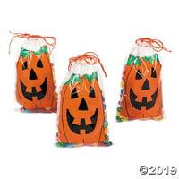 Mini Jack-O'-Lantern Drawstring Goody Bags