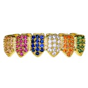 18K Gold Plated Multi-Color Grillz Bottom Row CZ Bling Rainbow Colors Hip Hop Rapper Teeth Grills