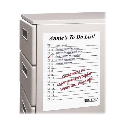 "C-line Self-stick Dry-erase Sheet - Self-adhesive, Repositionable, Removable - 8.50"" X 11"" - White - 25 / Box (CLI57911)"