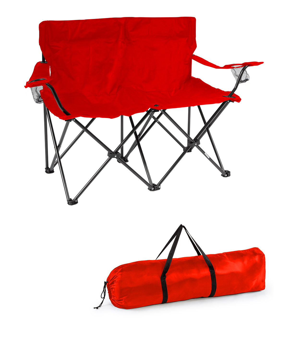 Loveseat Style Double Camp Chair with Steel Frame by Trademark Innovations (Red,... by Trademark Innovations