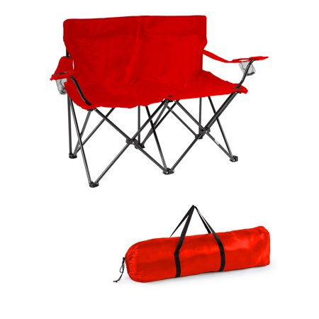 Loveseat Style Double Camp Chair with Steel Frame by Trademark Innovations (Red, 31.5u0022H)