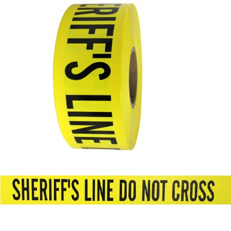 Barricade Tape - Sheriffs Line Do Not Cross - Yellow 3 in x 1000 ft Non Adhesive 3 mil 8 Roll Case