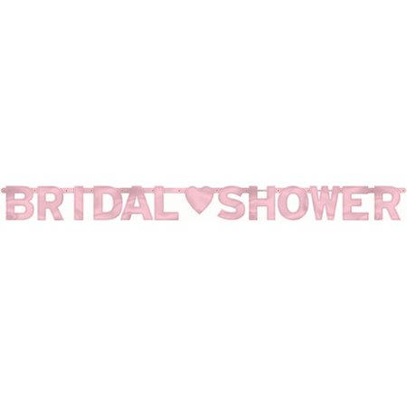 Amscan Large Bridal Shower Foil Banner Pink (1 Piece) 6.5 feet by 6 1/4 inches