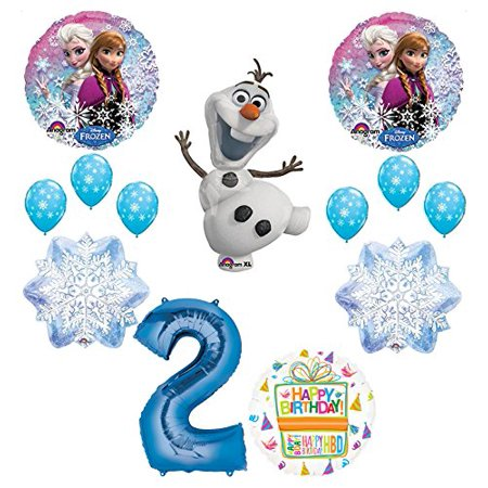 Frozen 2nd Birthday Party Supplies Olaf, Elsa and Anna Balloon Bouquet Decorations Blue #2 for $<!---->