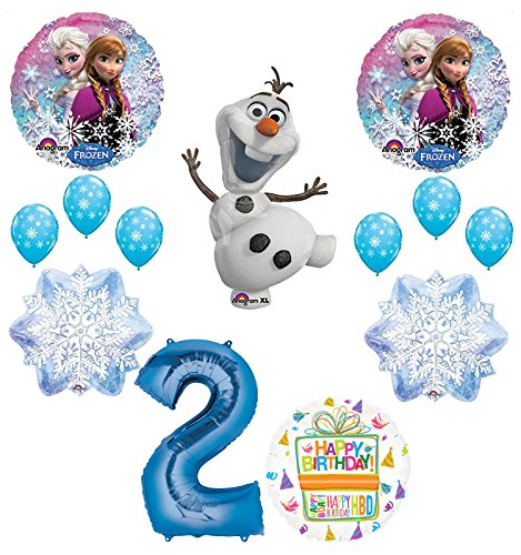 Frozen 2nd Birthday Party Supplies Olaf, Elsa and Anna Balloon Bouquet Decorations Blue #2