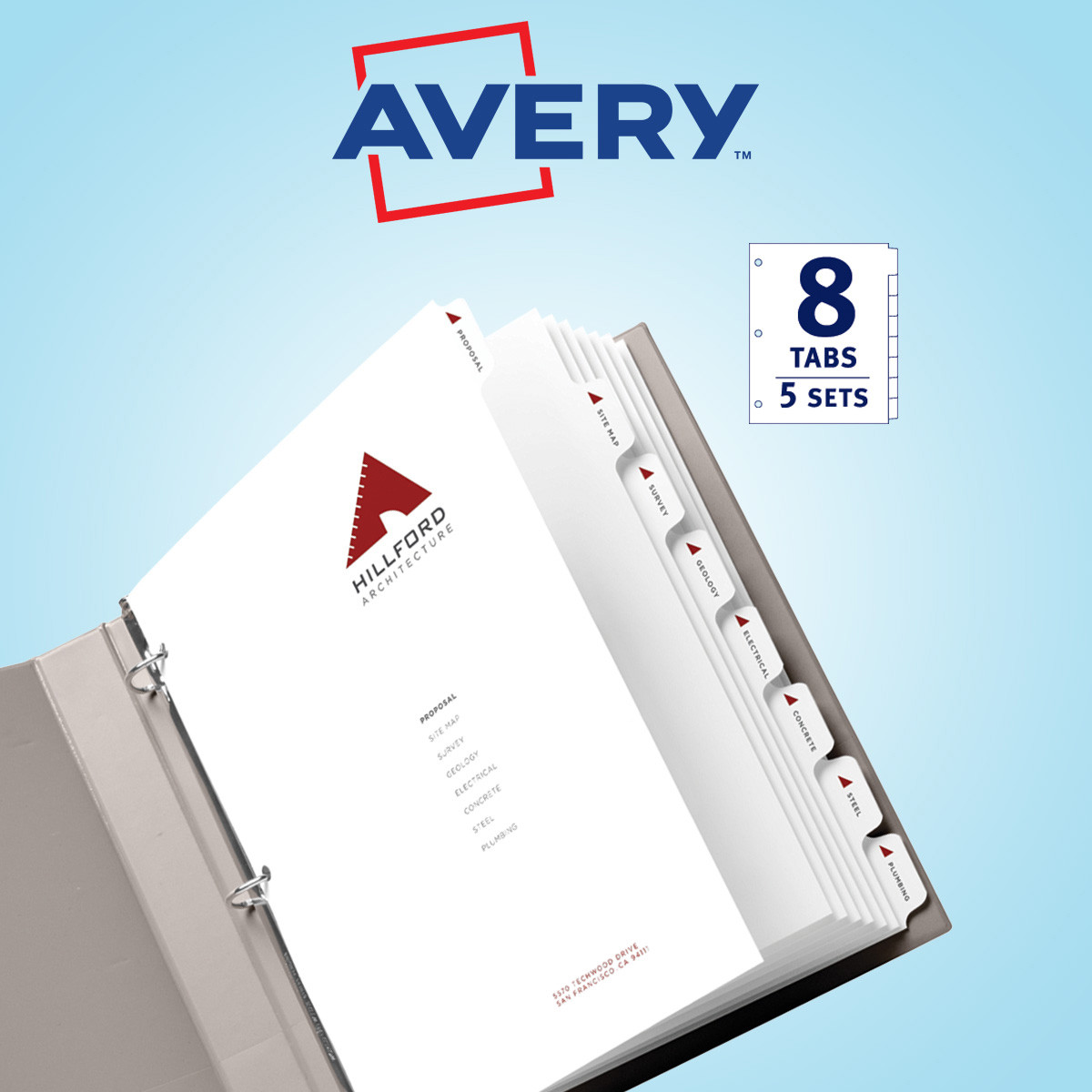 Avery 11552 Print-On Dividers White 5/8 Tab Set