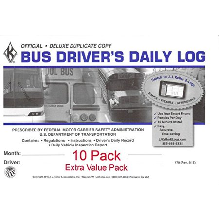 J.J. Keller 470 (9L) Bus Driver's Daily Log Book, 2-Ply, w/Carbon, w/Daily Recap and Detailed DVIR - Extra Value Pack of 10 ()