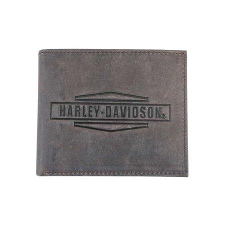 Harley-Davidson Mens Crazy Horse Leather Billfold Wallet MCH8450-BRNBLK, Harley Davidson