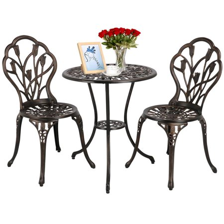 Yaheetech 3 Piece Patio Set Outdoor Patio Furniture Tulip Design Setting Cast Bistro Table Chair, Aluminum